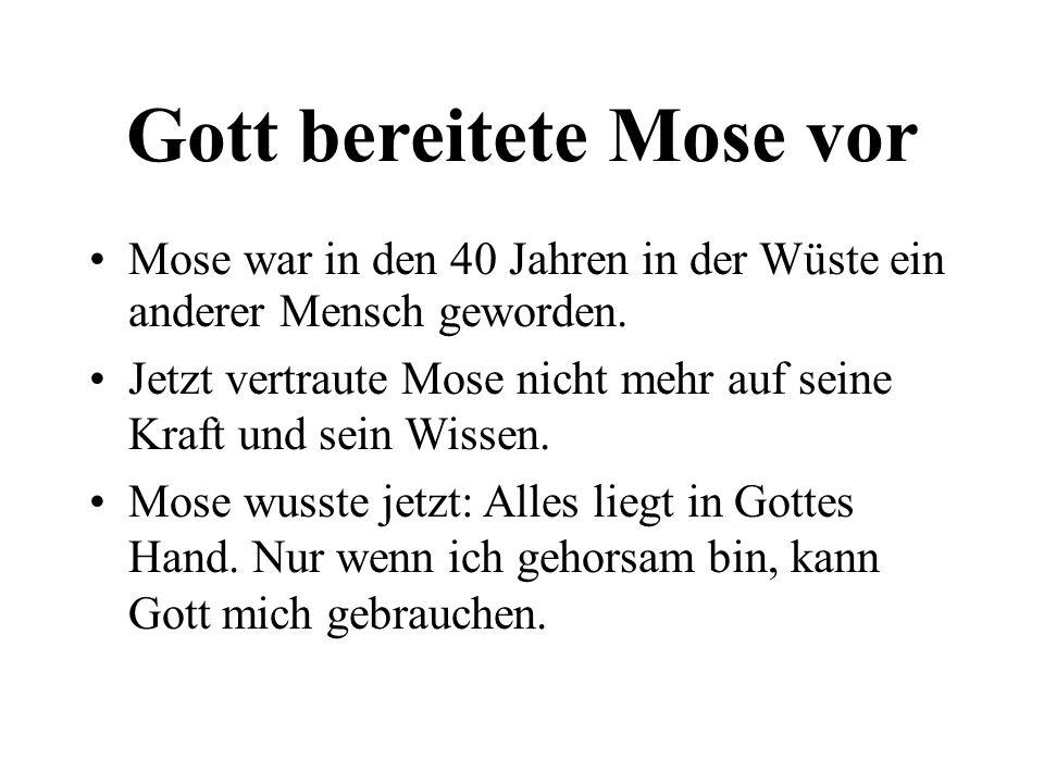 Gott bereitete Mose vor Mose war in den 40 Jahren in der Wüste ein anderer Mensch geworden. Jetzt vertraute Mose nicht mehr auf seine Kraft und sein W