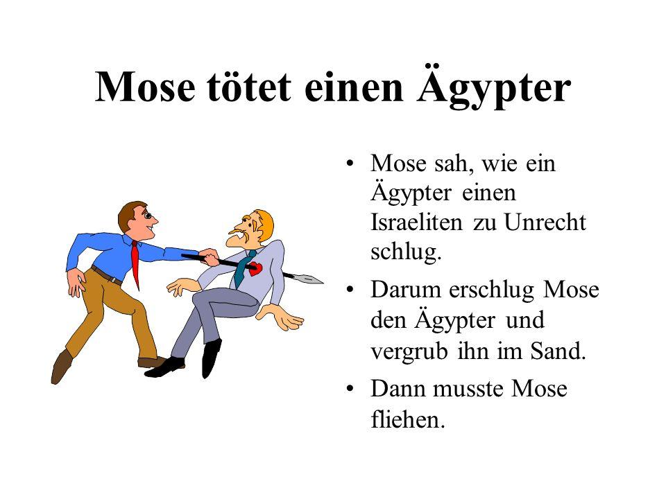 Mose tötet einen Ägypter Mose sah, wie ein Ägypter einen Israeliten zu Unrecht schlug. Darum erschlug Mose den Ägypter und vergrub ihn im Sand. Dann m