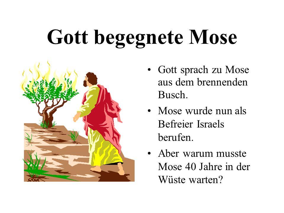Gott begegnete Mose Gott sprach zu Mose aus dem brennenden Busch. Mose wurde nun als Befreier Israels berufen. Aber warum musste Mose 40 Jahre in der
