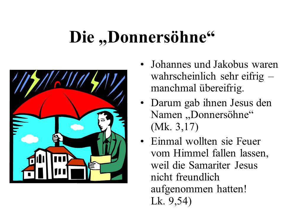 Die Donnersöhne Johannes und Jakobus waren wahrscheinlich sehr eifrig – manchmal übereifrig. Darum gab ihnen Jesus den Namen Donnersöhne (Mk. 3,17) Ei
