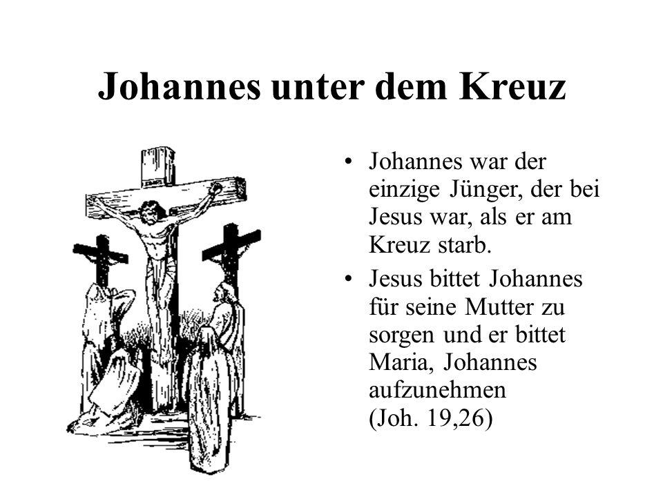 Johannes unter dem Kreuz Johannes war der einzige Jünger, der bei Jesus war, als er am Kreuz starb. Jesus bittet Johannes für seine Mutter zu sorgen u