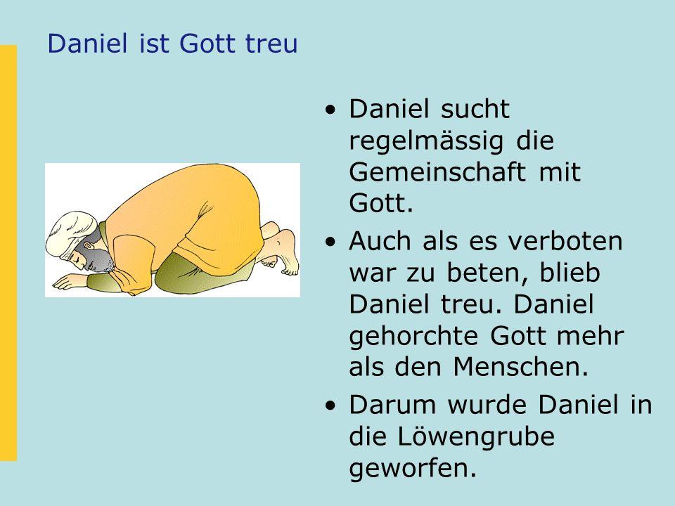 Daniel ist Gott treu Daniel sucht regelmässig die Gemeinschaft mit Gott. Auch als es verboten war zu beten, blieb Daniel treu. Daniel gehorchte Gott m