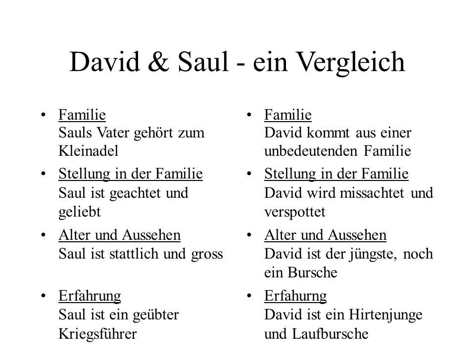 David & Saul - ein Vergleich Familie Sauls Vater gehört zum Kleinadel Stellung in der Familie Saul ist geachtet und geliebt Alter und Aussehen Saul is