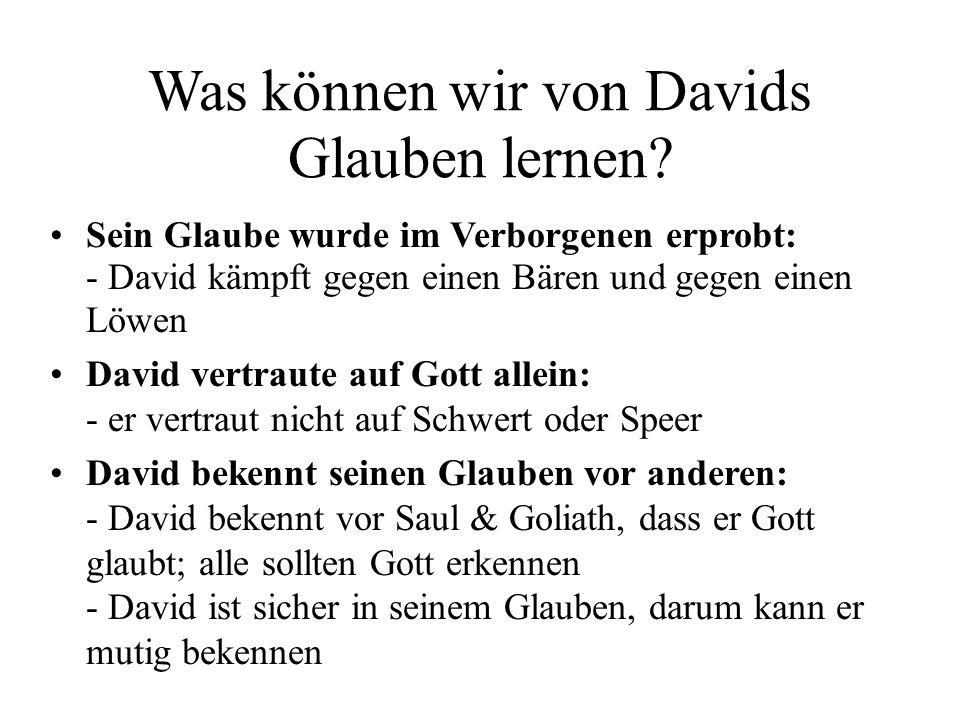 Was können wir von Davids Glauben lernen? Sein Glaube wurde im Verborgenen erprobt: - David kämpft gegen einen Bären und gegen einen Löwen David vertr