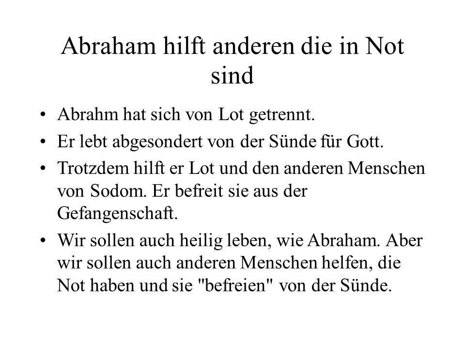 Abraham gibt freiwillig den Zehnten