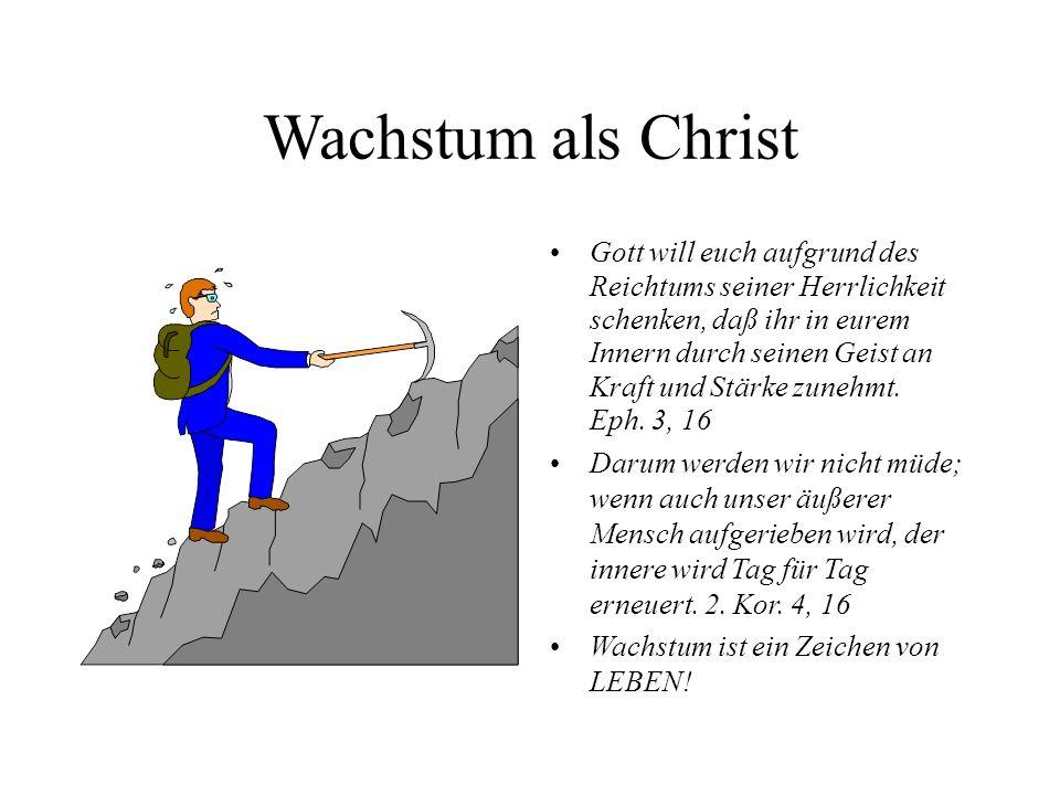 Wachstum als Christ Gott will euch aufgrund des Reichtums seiner Herrlichkeit schenken, daß ihr in eurem Innern durch seinen Geist an Kraft und Stärke