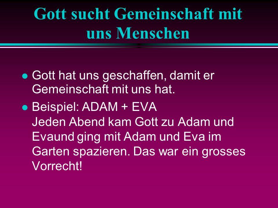 Gott sucht Gemeinschaft mit uns Menschen Gott hat uns geschaffen, damit er Gemeinschaft mit uns hat. Beispiel: ADAM + EVA Jeden Abend kam Gott zu Adam