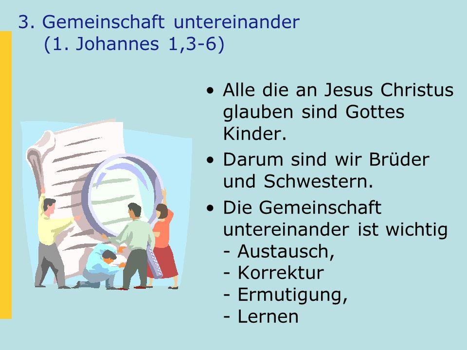 3. Gemeinschaft untereinander (1. Johannes 1,3-6) Alle die an Jesus Christus glauben sind Gottes Kinder. Darum sind wir Brüder und Schwestern. Die Gem