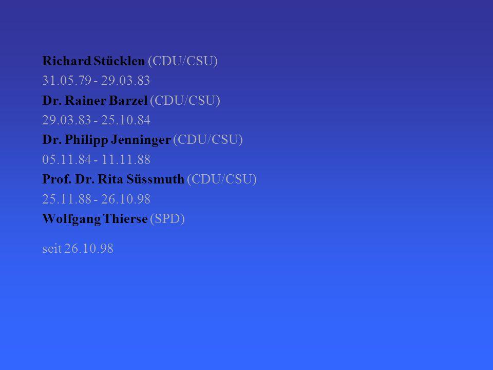 Die Bundestagspräsidenten seit 1949 Dr. Erich Köhler (CDU/CSU) 07.09.49 - 18.10.50 Dr. Hermann Ehlers (CDU/CSU) 19.10.50 - 20.10.54 Dr. Eugen Gerstenm