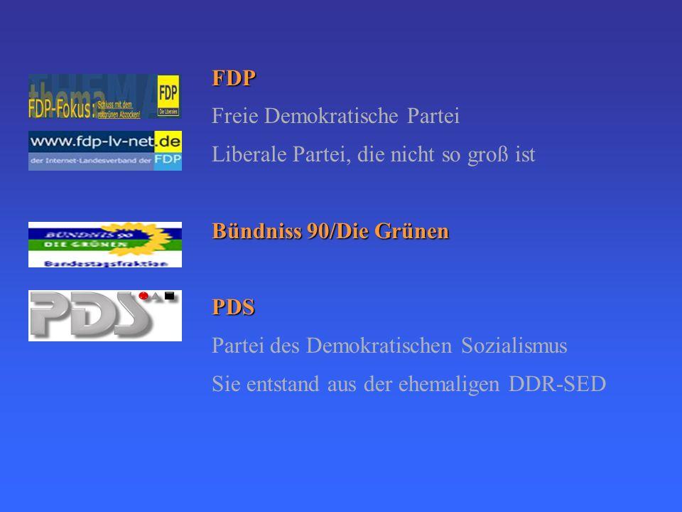 Politische Parteien in der BRD CDU Christlich Demokratische Union Konzervative VolksparteiCSU Christlich Soziale Union Soziale VolksparteiSPD Sozialde