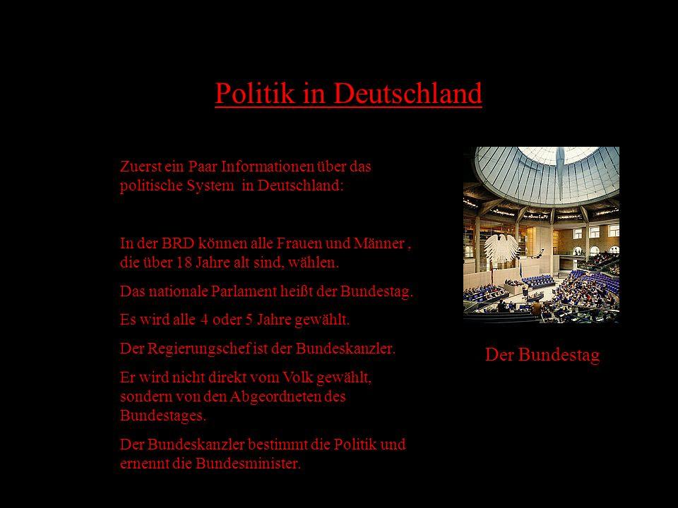 Inhalt 1....... Der Titel 2....... Der Inhalt 3....... Politik in Deutschland 4....... Politisches System in Bundesländern 5....... Die Parteien in De