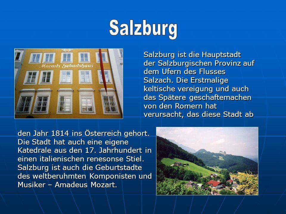 Salzburg ist die Hauptstadt der Salzburgischen Provinz auf dem Ufern des Flusses Salzach. Die Erstmalige keltische vereigung und auch das Spätere gesc