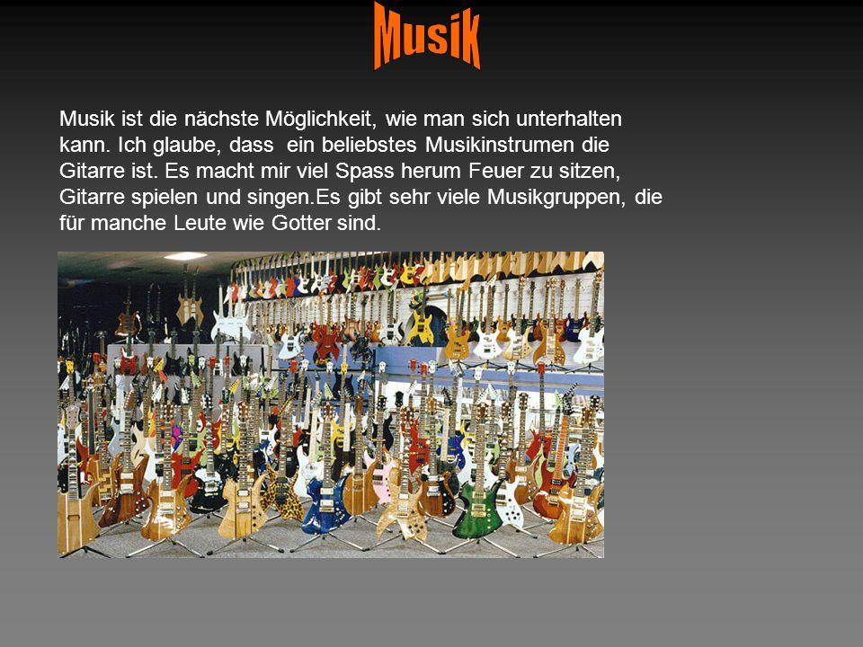 Musik ist die nächste Möglichkeit, wie man sich unterhalten kann. Ich glaube, dass ein beliebstes Musikinstrumen die Gitarre ist. Es macht mir viel Sp