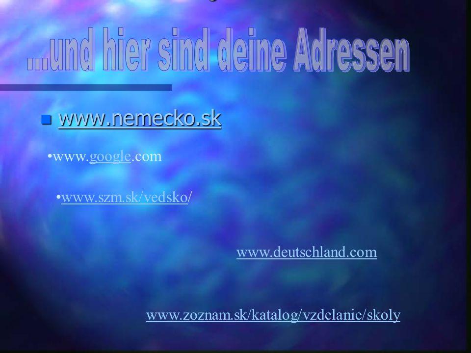 Hier sind die Adressen für Sie. An diesen Adressen finden Sie Informationen über die Arbeitsstelle und das Studium in Deutschland. Hier sind die Adres