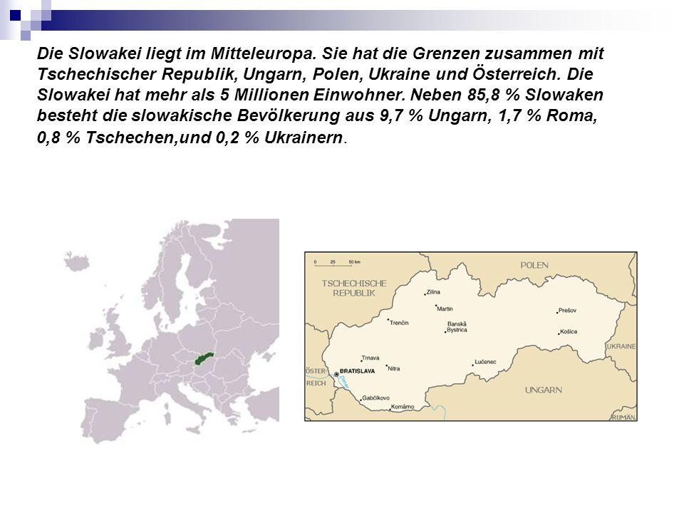 Die Slowakei liegt im Mitteleuropa. Sie hat die Grenzen zusammen mit Tschechischer Republik, Ungarn, Polen, Ukraine und Österreich. Die Slowakei hat m