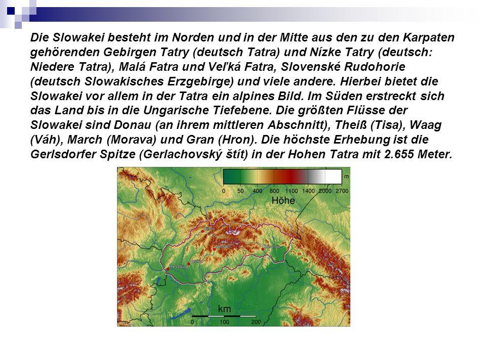 Die Slowakei besteht im Norden und in der Mitte aus den zu den Karpaten gehörenden Gebirgen Tatry (deutsch Tatra) und Nízke Tatry (deutsch: Niedere Ta