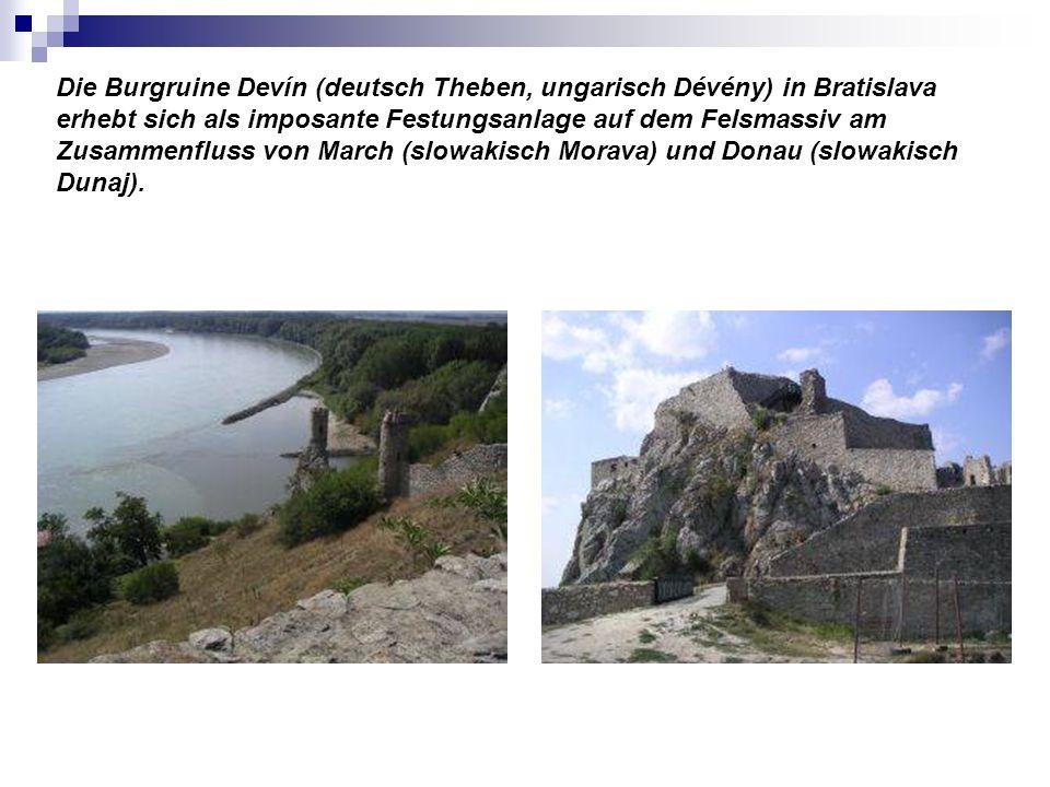 Die Burgruine Devín (deutsch Theben, ungarisch Dévény) in Bratislava erhebt sich als imposante Festungsanlage auf dem Felsmassiv am Zusammenfluss von