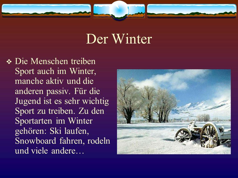 Der Winter Die Menschen treiben Sport auch im Winter, manche aktiv und die anderen passiv. Für die Jugend ist es sehr wichtig Sport zu treiben. Zu den