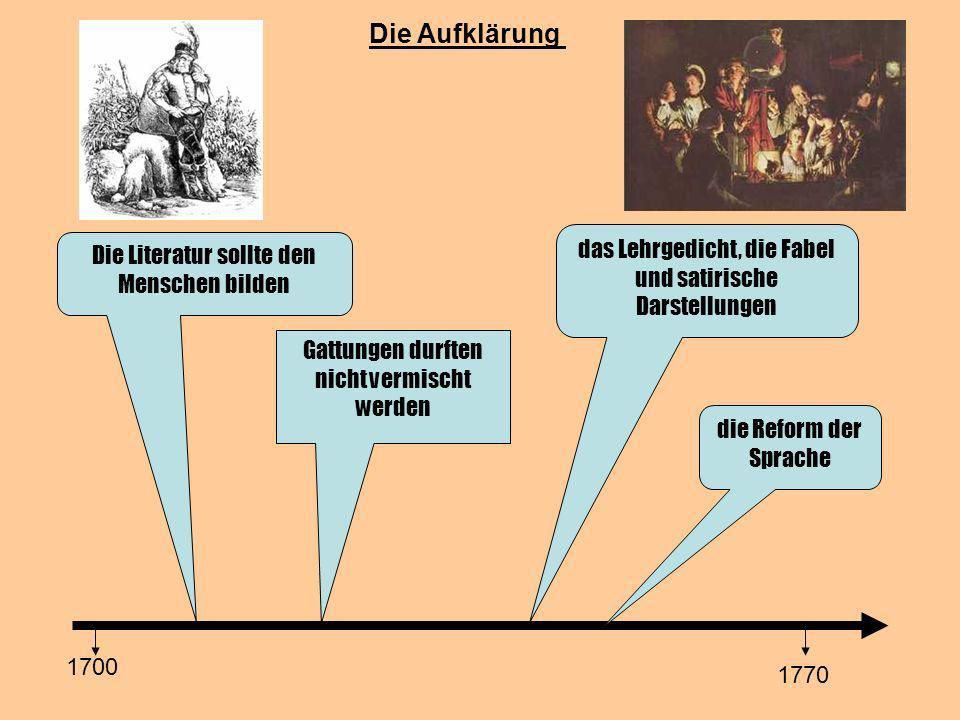 Die Aufklärung Die Literatur sollte den Menschen bilden 1700 1770 Gattungen durften nicht vermischt werden das Lehrgedicht, die Fabel und satirische Darstellungen die Reform der Sprache