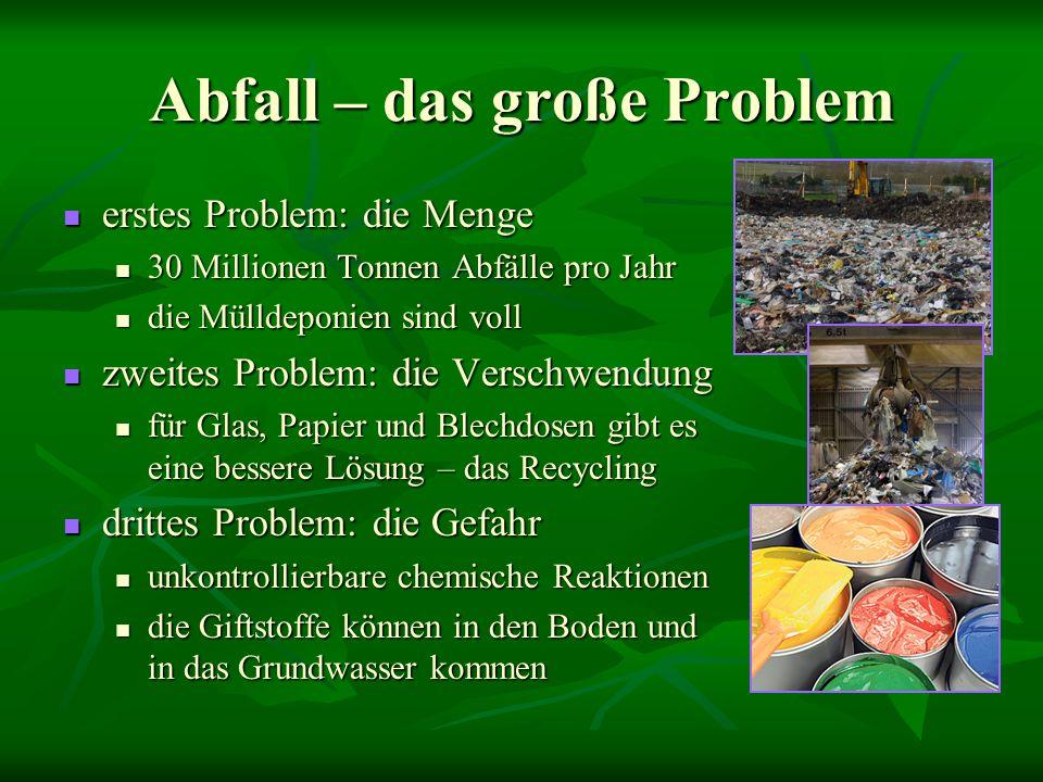 Abfall – das große Problem erstes Problem: die Menge 30 Millionen Tonnen Abfälle pro Jahr die Mülldeponien sind voll zweites Problem: die Verschwendun