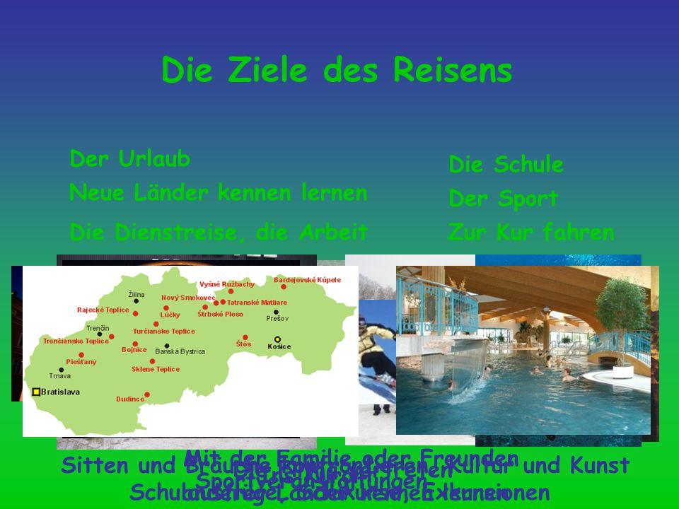 Die Ziele des Reisens Der Urlaub Neue Länder kennen lernen Die Schule Die Dienstreise, die Arbeit Der Sport Zur Kur fahren Mit der Familie oder Freund