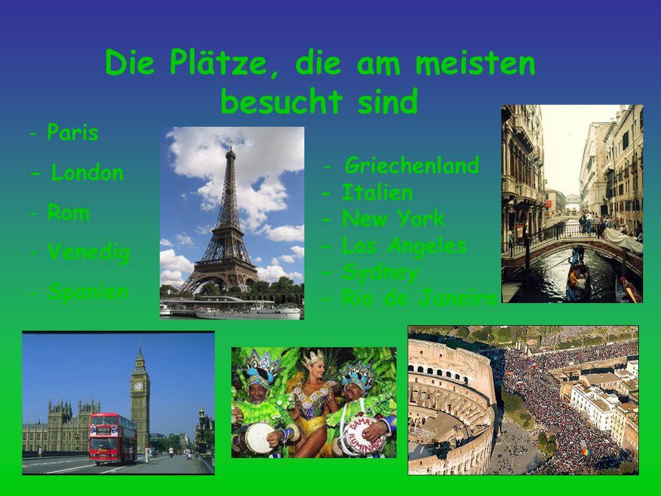 Die Plätze, die am meisten besucht sind - Paris - London - Rom - Venedig - Spanien - Griechenland - Italien - New York - Los Angeles - Sydney - Rio de