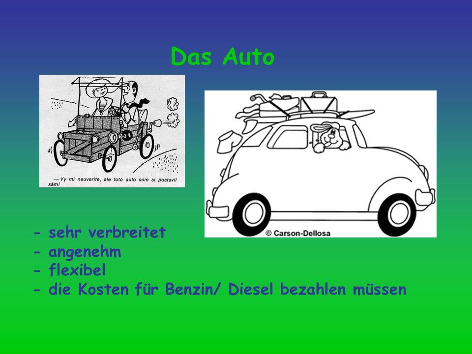 Das Auto - sehr verbreitet - angenehm - flexibel - die Kosten für Benzin/ Diesel bezahlen müssen
