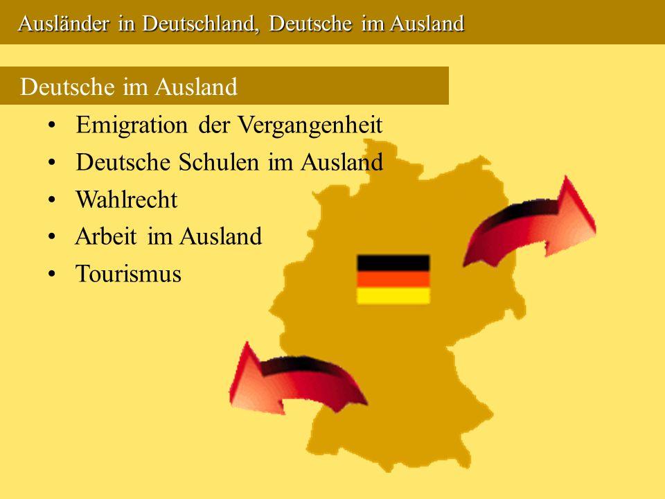 Ausländer in Deutschland, Deutsche im Ausland Ausländer in Deutschland, Deutsche im Ausland Deutsche im Ausland Emigration der Vergangenheit Deutsche