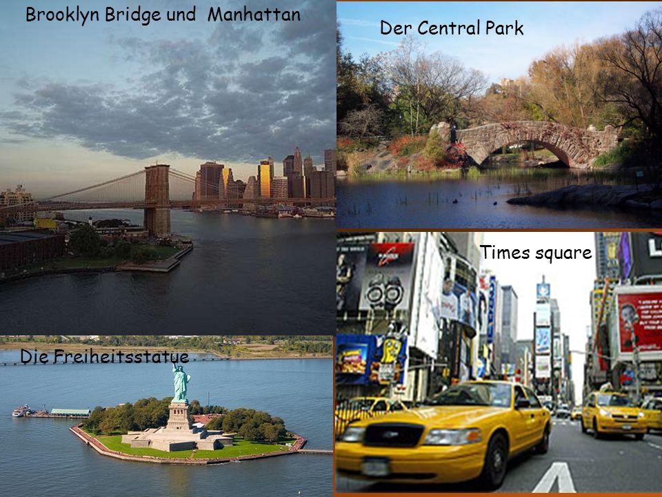 Brooklyn Bridge und Manhattan Der Central Park Times square Die Freiheitsstatue
