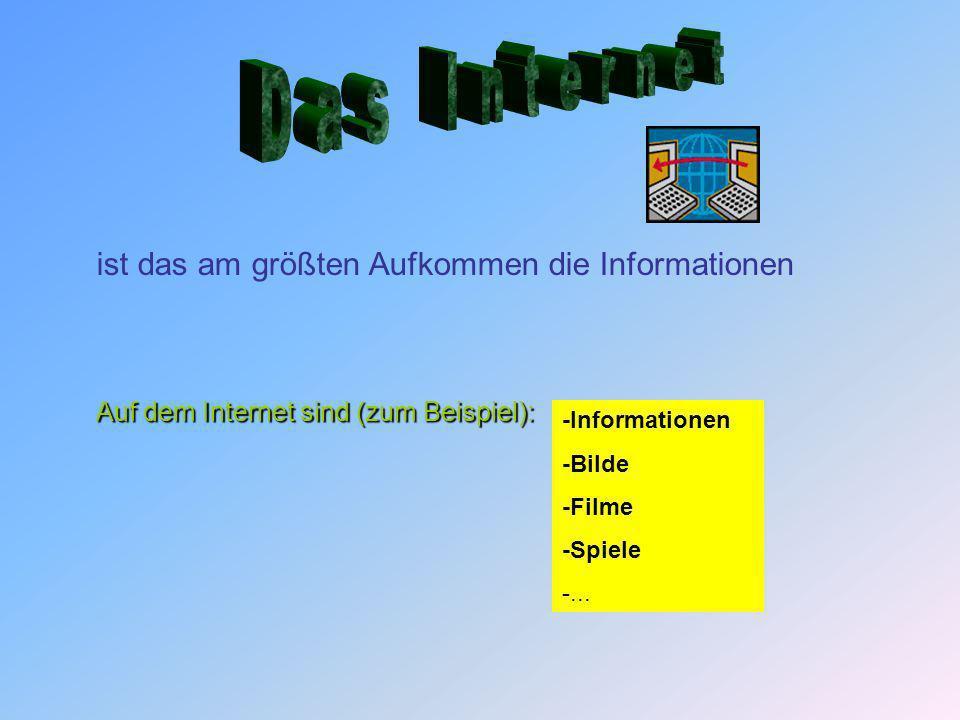 Auf dem Internet sind (zum Beispiel): ist das am größten Aufkommen die Informationen -Informationen -Bilde -Filme -Spiele -...