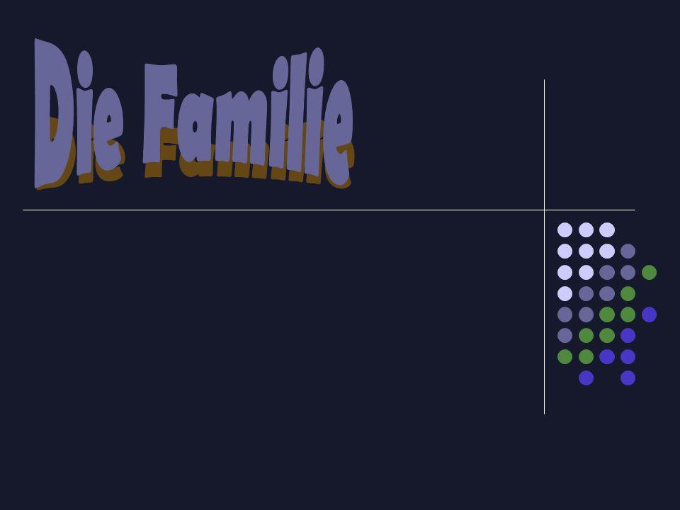 der Vater+ die Mutter+ die Kindern+ die Groβeltern+ Schwagern+ Schwägerinen+ Tante+ Onkel+ Enkelkindern+ der HunD= die FAMILIE