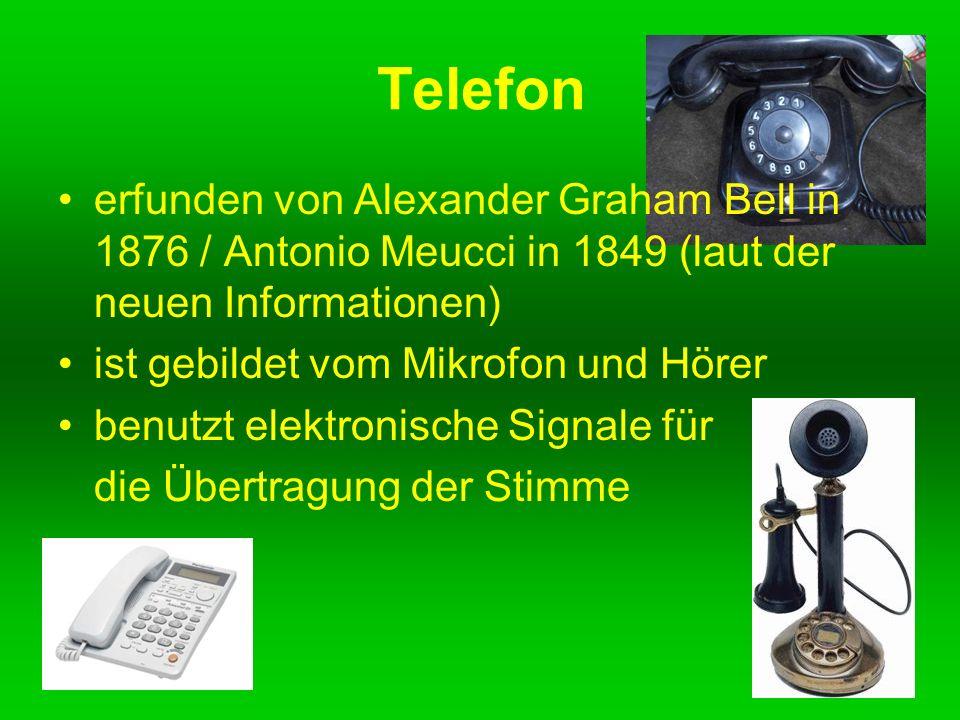 Telefon erfunden von Alexander Graham Bell in 1876 / Antonio Meucci in 1849 (laut der neuen Informationen) ist gebildet vom Mikrofon und Hörer benutzt