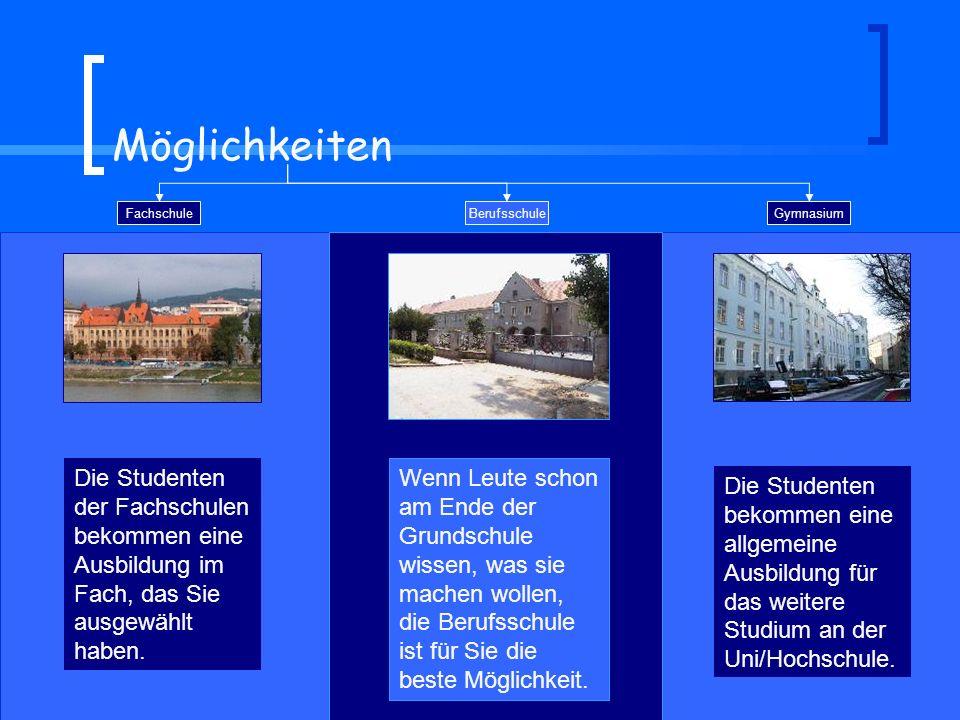 Möglichkeiten Fachschule Gymnasium Die Studenten bekommen eine allgemeine Ausbildung für das weitere Studium an der Uni/Hochschule. Die Studenten der