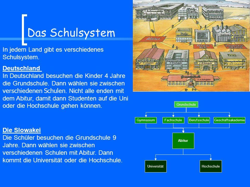 Das Schulsystem In jedem Land gibt es verschiedenes Schulsystem. Deutschland In Deutschland besuchen die Kinder 4 Jahre die Grundschule. Dann wählen s