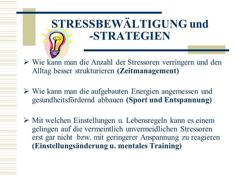 STRESSBEWÄLTIGUNG und -STRATEGIEN Wie kann man die Anzahl der Stressoren verringern und den Alltag besser strukturieren (Zeitmanagement) Wie kann man die aufgebauten Energien angemessen und gesundheitsfördernd abbauen (Sport und Entspannung) Mit welchen Einstellungen u.