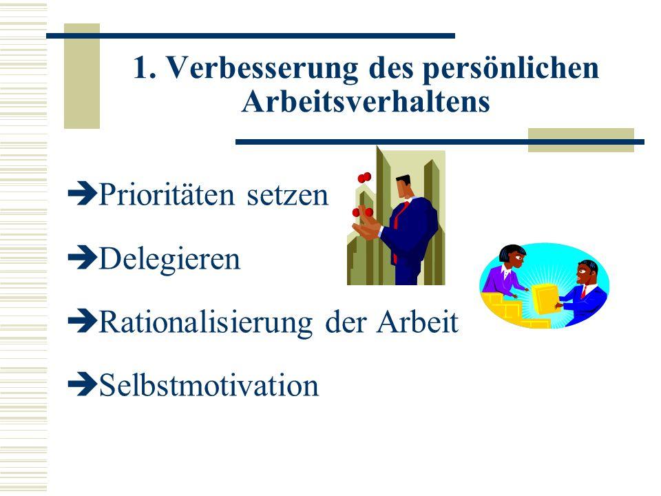 1. Verbesserung des persönlichen Arbeitsverhaltens Prioritäten setzen Delegieren Rationalisierung der Arbeit Selbstmotivation