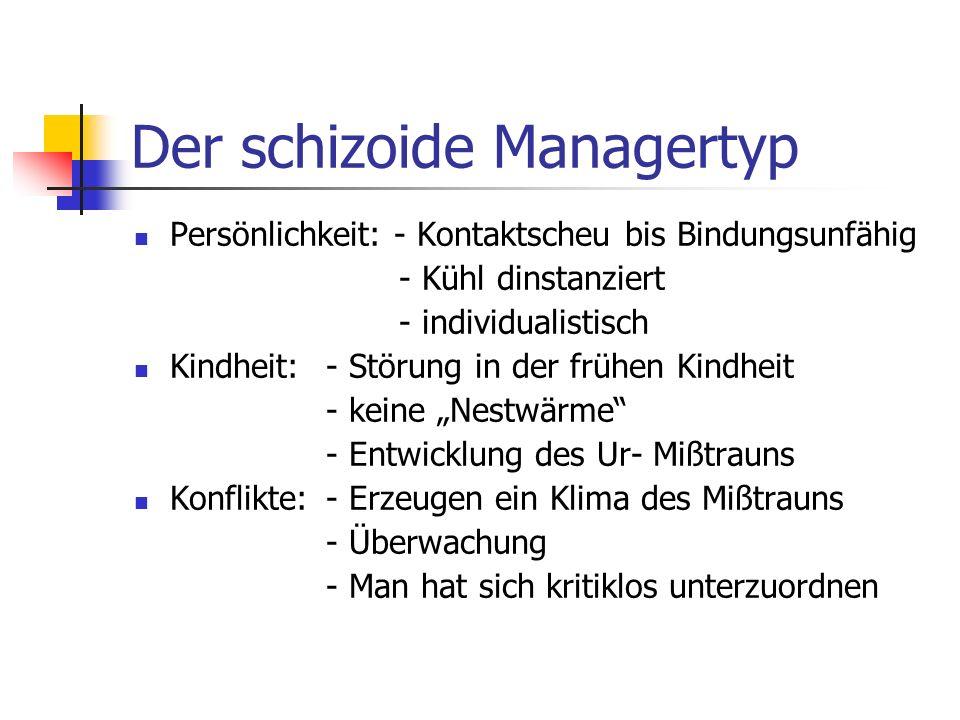 Der schizoide Managertyp Persönlichkeit: - Kontaktscheu bis Bindungsunfähig - Kühl dinstanziert - individualistisch Kindheit: - Störung in der frühen