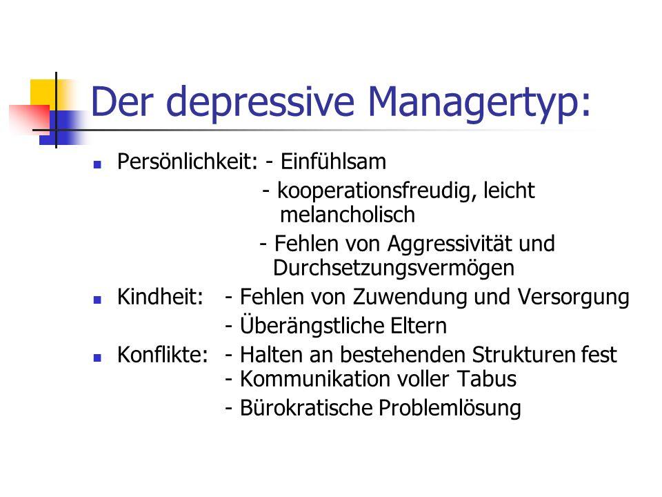 Der depressive Managertyp: Persönlichkeit: - Einfühlsam - kooperationsfreudig, leicht melancholisch - Fehlen von Aggressivität und Durchsetzungsvermög