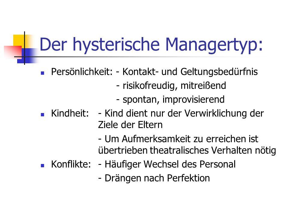 Der hysterische Managertyp: Persönlichkeit: - Kontakt- und Geltungsbedürfnis - risikofreudig, mitreißend - spontan, improvisierend Kindheit:- Kind die
