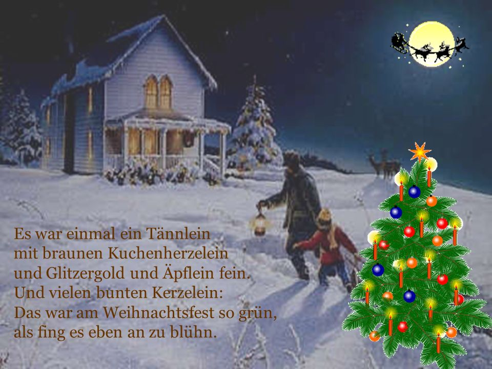 Es war einmal ein Tännlein mit braunen Kuchenherzelein und Glitzergold und Äpflein fein. Und vielen bunten Kerzelein: Das war am Weihnachtsfest so grü