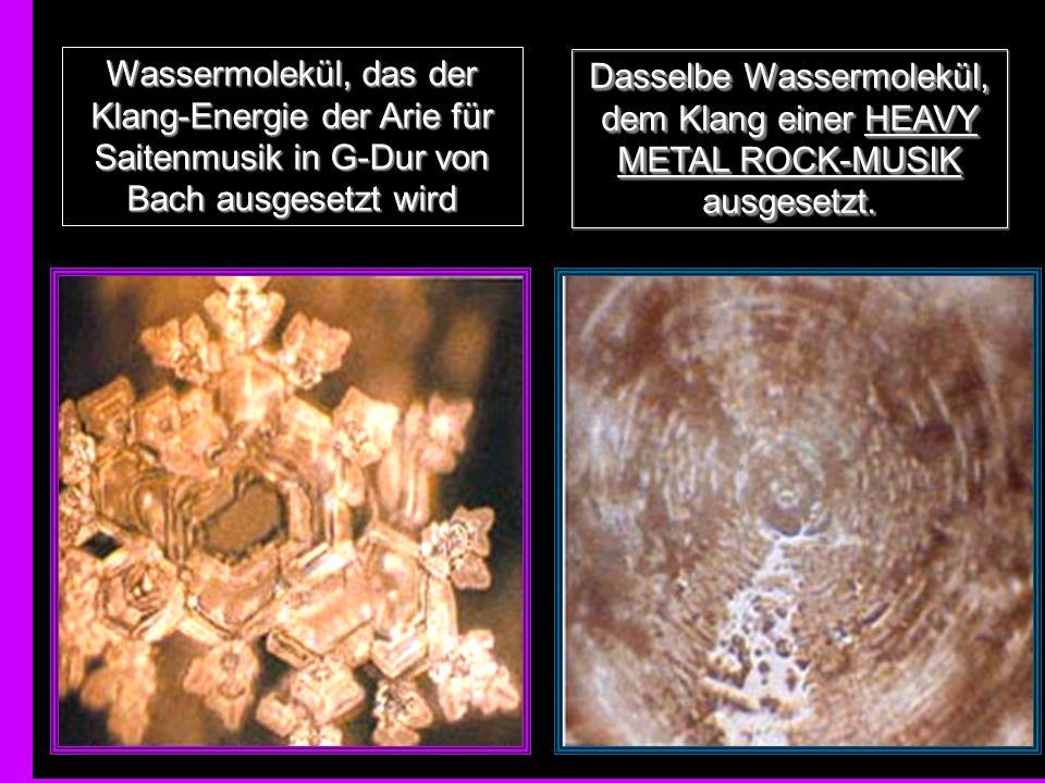 Dasselbe Wassermolekül, dem Klang einer HEAVY METAL ROCK-MUSIK ausgesetzt.
