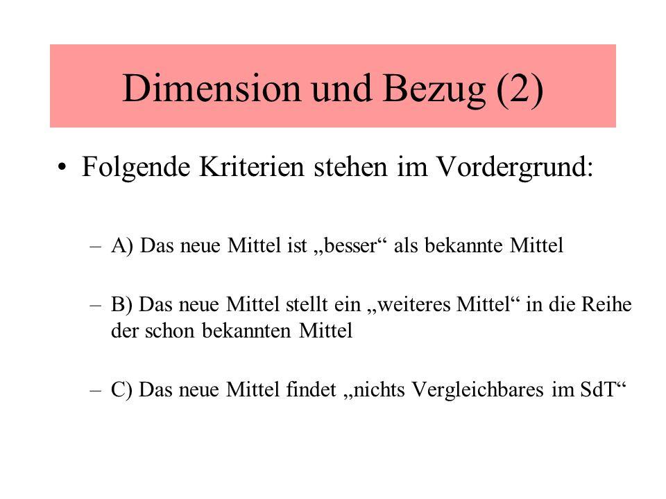 Dimension und Bezug (2) Folgende Kriterien stehen im Vordergrund: –A) Das neue Mittel ist besser als bekannte Mittel –B) Das neue Mittel stellt ein weiteres Mittel in die Reihe der schon bekannten Mittel –C) Das neue Mittel findet nichts Vergleichbares im SdT