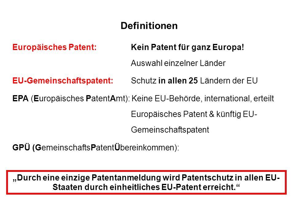 Definitionen Europäisches Patent: Kein Patent für ganz Europa! Auswahl einzelner Länder EU-Gemeinschaftspatent: Schutz in allen 25 Ländern der EU EPA