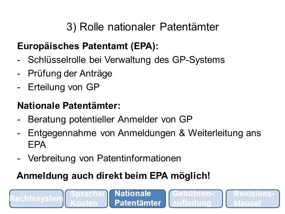 4) Gebührenaufteilung Jahresgebühren für GP gehen ans EPA: -50 % Kostendeckung & Recherchekosten nationaler Patentämter -50 % nach Aufteilungsschlüssel auf nationale Patentämter (Marktgrösse & Tätigkeit im Patentbereich) Nationale Patentämter: Vergütet für Tätigkeiten Rechtssystem Sprache/ Kosten Nationale Patentämter Gebühren- aufteilung Revisions- klausel