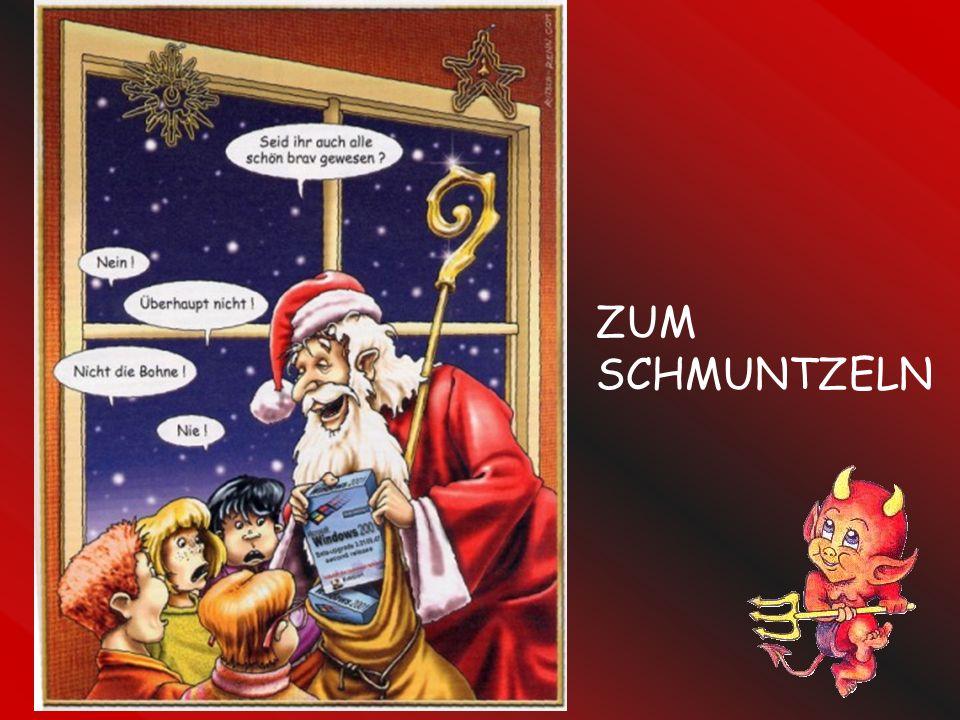 Der Ehemann ratlos seinen Freund: Meine Frau wünscht sich etwas zu Weihnachten, das ihr zu Gesicht steht. Nach kurzer Überlegung antwortet der Freund: Schenke ihr einen Faltenrock!!