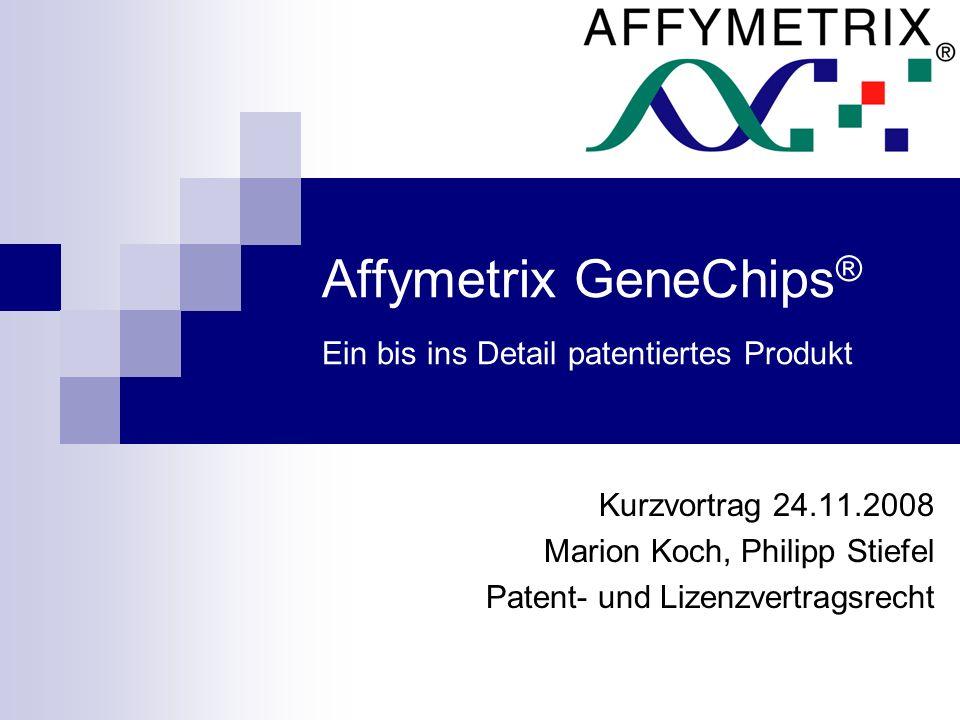 Affymetrix ® wurde vor 16 Jahren gegründet ist eine amerikanische Firma die Mikroarrays entwickelt Mit einem Microarray kann man komplexe genetische Vorgänge analysieren