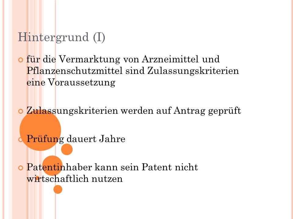 Hintergrund (I) für die Vermarktung von Arzneimittel und Pflanzenschutzmittel sind Zulassungskriterien eine Voraussetzung Zulassungskriterien werden auf Antrag geprüft Prüfung dauert Jahre Patentinhaber kann sein Patent nicht wirtschaftlich nutzen