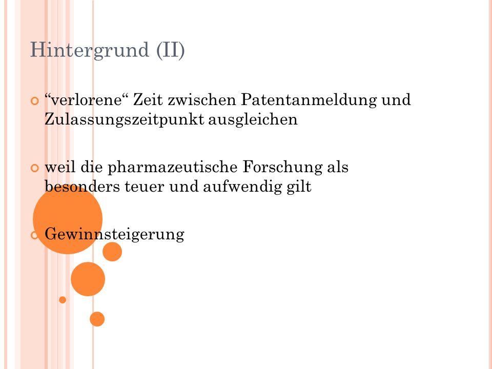 Hintergrund (II) verlorene Zeit zwischen Patentanmeldung und Zulassungszeitpunkt ausgleichen weil die pharmazeutische Forschung als besonders teuer und aufwendig gilt Gewinnsteigerung