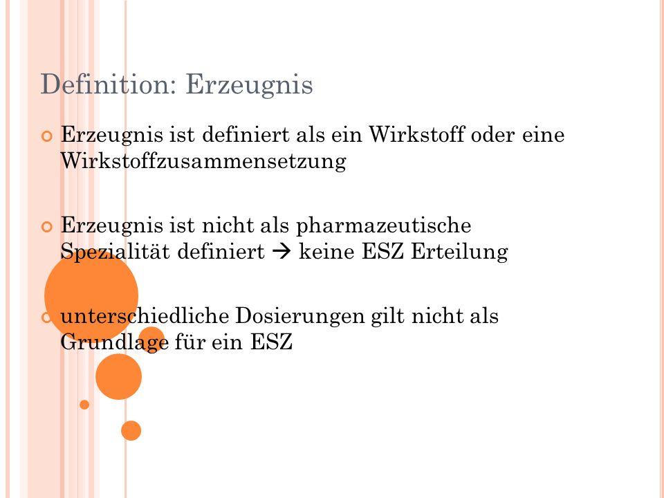 Definition: Erzeugnis Erzeugnis ist definiert als ein Wirkstoff oder eine Wirkstoffzusammensetzung Erzeugnis ist nicht als pharmazeutische Spezialität definiert keine ESZ Erteilung unterschiedliche Dosierungen gilt nicht als Grundlage für ein ESZ