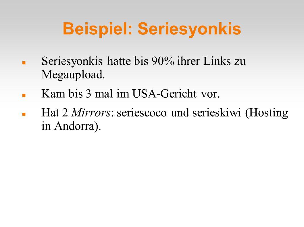 Beispiel: Seriesyonkis Seriesyonkis hatte bis 90% ihrer Links zu Megaupload.